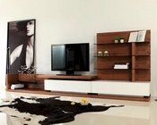 Contemporary Walnut and White High Gloss TV Unit 44ENT662N