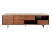 Contemporary Walnut & Black TV Stand 44ENT1311
