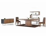 Contemporary Walnut Dining Set w/ Extendable Table 44D520W-SET