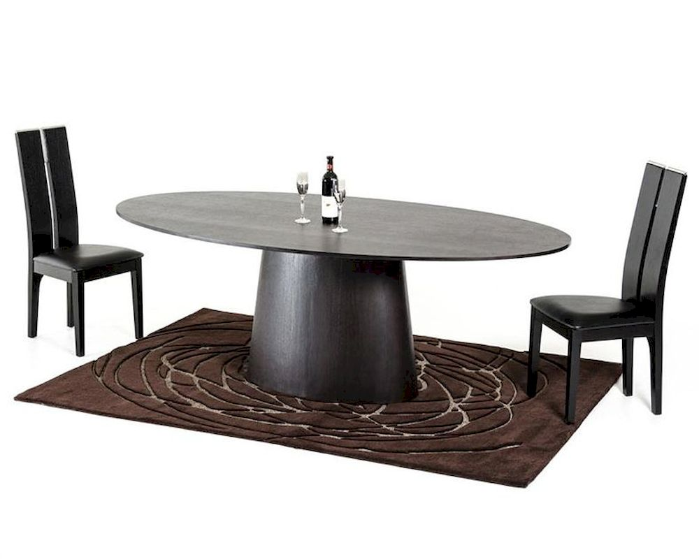 Contemporary Wenge Dining Set W Oval Dining Table 44D510 SET