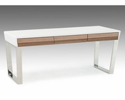 Contemporary White and Walnut Office Desk 44F141001