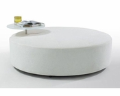 Contemporary White Fabric Ottoman and End Table 44O148