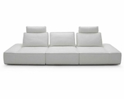 Contemporary White Finish Italian Leather Sofa 44L6067
