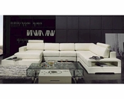 Contemporary White Finish Leather Sectional Sofa w/ Light 44LT63