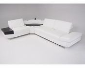 Contemporary White Leather Sectional Sofa w/ Audio Center 44L5931