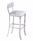 Contemporary White Leatherette Bar Stool 44BR888A
