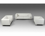 Contemporary White Leatherette Sofa Set 44L5946