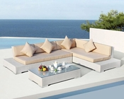 Contemporary White Outdoor Sectional Sofa Set 44P389-SET
