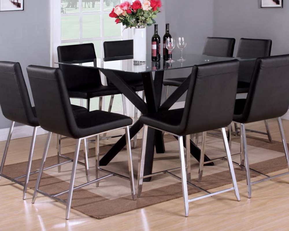 Counter Height Glass Dining Table Set : Counter Height Set w/ Glass Table Lenia by Acme Furniture AC71000SET