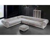 Cream Fabric Sectional Sofa & Ottoman in Contemporary Style 44L0669-2