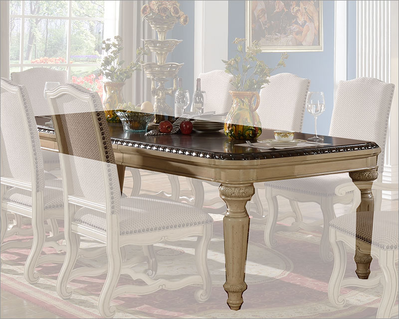 Cream Finish Dining Table by MCF Furnishings MCFD9801 T