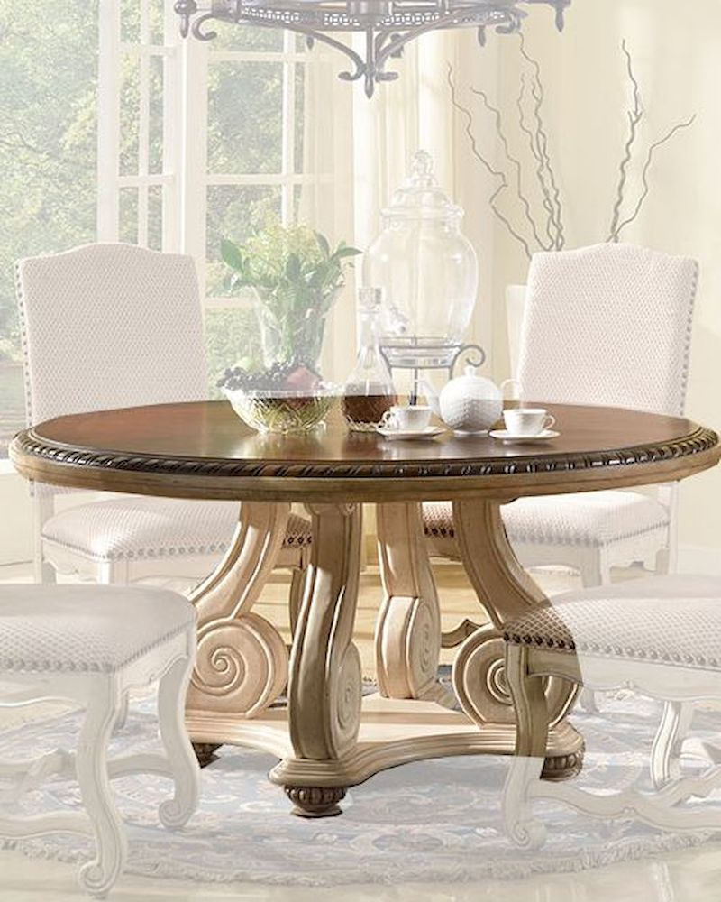 Cream finish round dining table by mcf furnishings mcfd9801 rt for Cream round dining table
