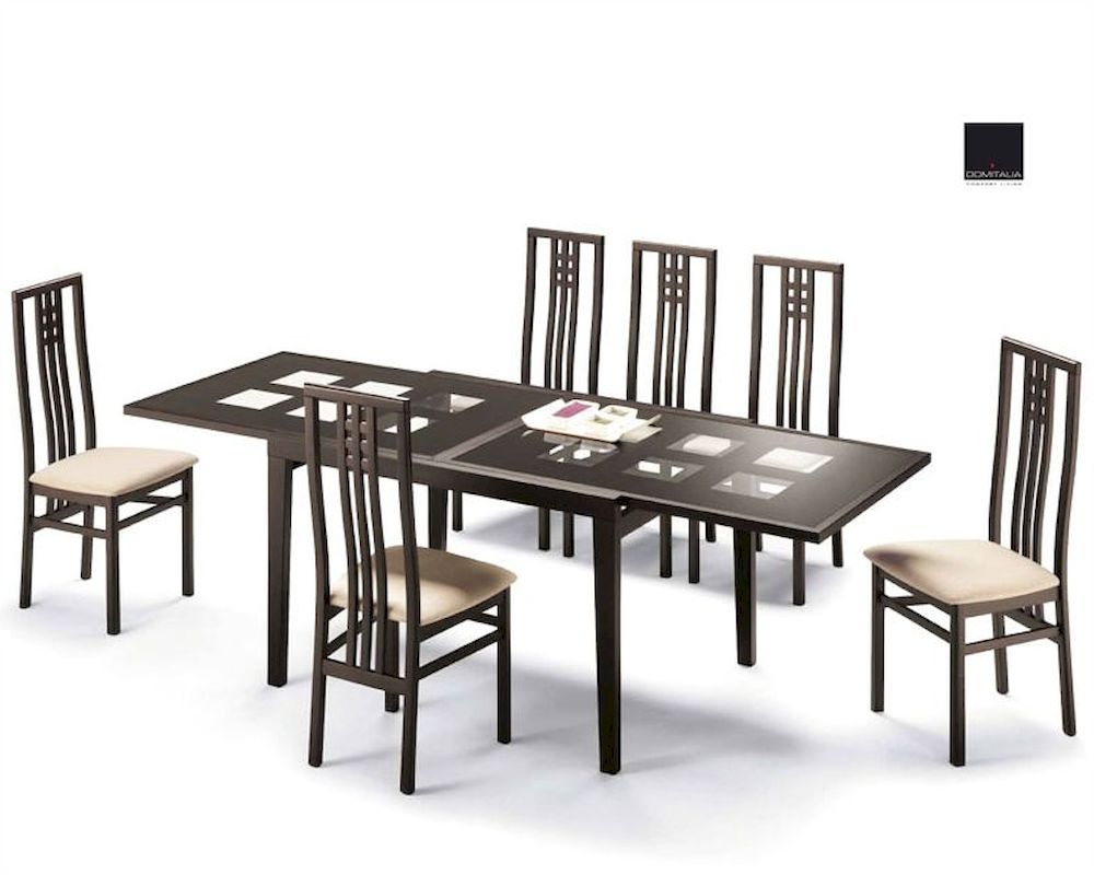 Dining Set Paloma Cappuccino W Glass Top Table Italy 33d101