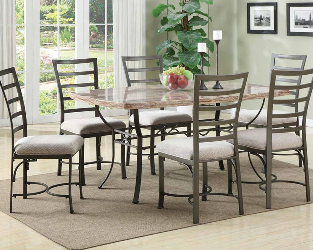 Dining Set W Faux Marble Top Table Val By Acme Furniture