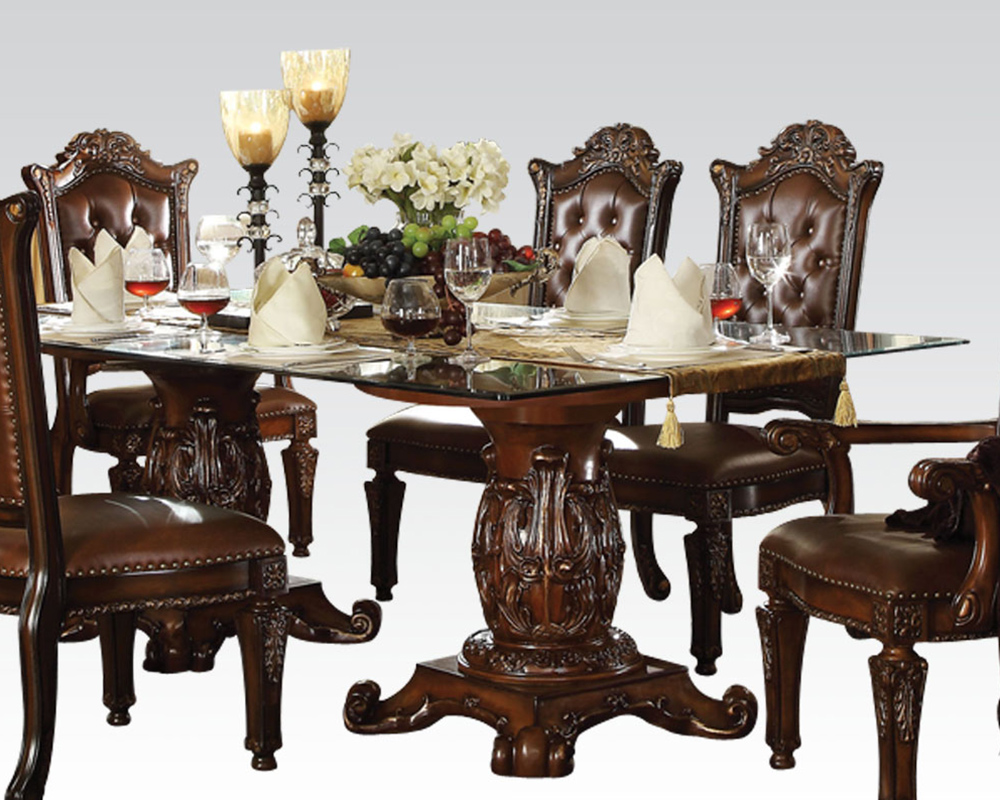 dining set w glass top table vendome cherry by acme ac62005s