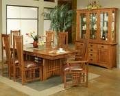 Dining Set w/ Leather Seat Chairs Bungalow by Ayca AY-AP5-Set2