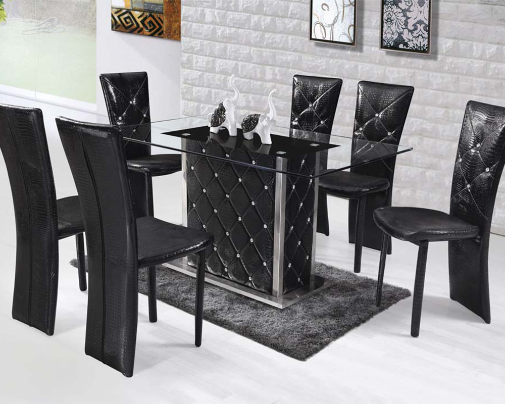 Dining Set W Rectangular Glass Top Table Nancy By Acme AC71385SET