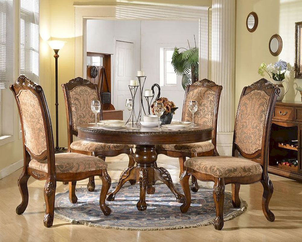 Dining Set W Round Dining Table In Traditional Style