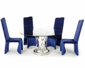 Dining Set w/ Round Glass Dining Table in Modern Style 44D8908-SET