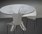 Dining Set w/ Transitional Mirrored Round Glass Table 44DGD1216-SET