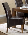 Dining Side Chair in Dark Brown Leather CO-101202 (Set of 2)