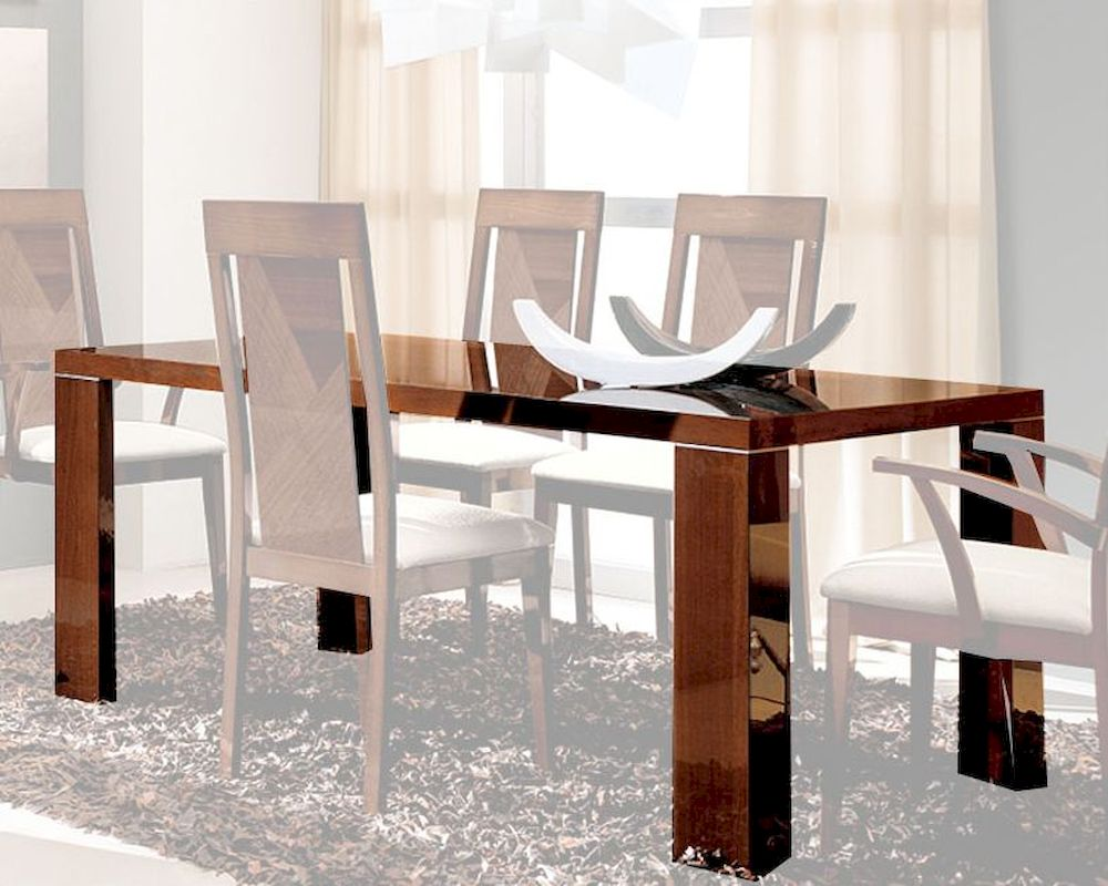 Dark Wood Finish Modern Dining Room W Optional Items: Dining Table In High Gloss Walnut Finish 33D62