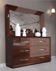 Double Dresser and Mirror Modern Style in Walnut Carmen 33190CR