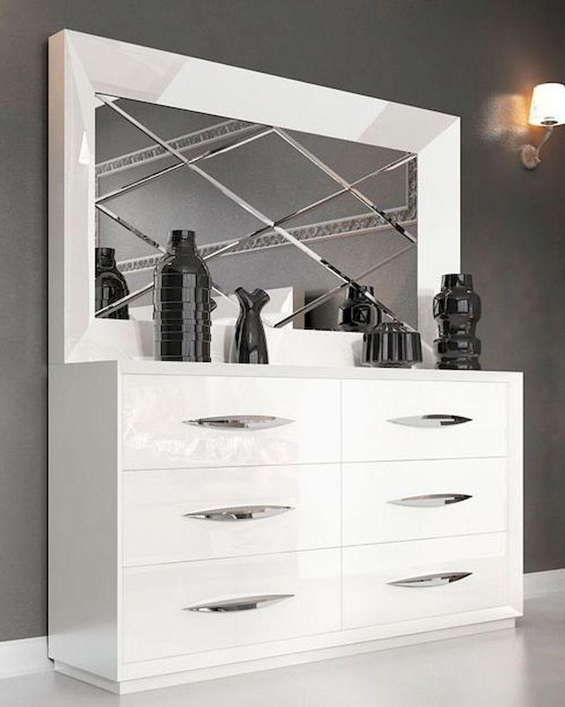 White Double Dresser and Mirror in Modern Style Carmen 33190CA
