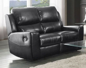 Double Reclining Loveseat Gannet in Black by Homelegance EL-8529BLK-2