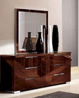 Dresser and Mirror in High Gloss Walnut Finish 33B164
