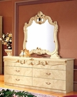 Dresser and Mirror Ivory Baroque Classic Style Made in Italy 33B414