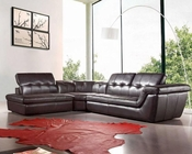 Espresso Italian Leather Sectional Sofa 44L5001