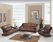 EuroDesign Leather Brown Two Tone Living Room Set GF982