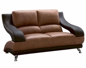 EuroDesign Leather Brown Two Tone Loveseat GF982L
