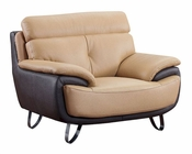 EuroDesign Leather Tan  and Brown Chair GFA159CH