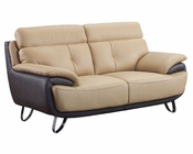 EuroDesign Leather Tan  and Brown Loveseat GFA159L