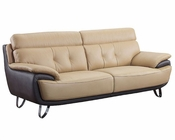 EuroDesign Leather Tan  and Brown Sofa GFA159S
