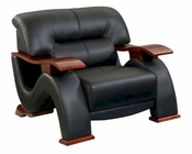 EuroDesign Modern Black Leather Chair GF2033CHBL