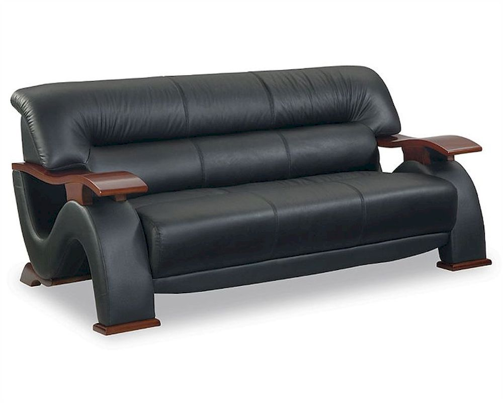 EuroDesign Modern Black Leather Sofa GF2033SBL
