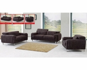 European Design Fabric Sofa Set in Brown Finish 33SS141