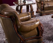 European Design Italian Leather Chair in Light Brown Finish 33SS184