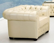 European Design Leather Chair in Ivory Finish 33SS54