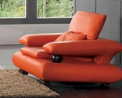 European Design Leather Chair in Orange Finish 33SS84