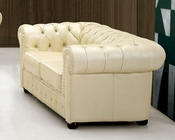 European Design Leather Loveseat in Ivory Finish 33SS53