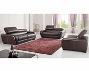 European Design Leather Sofa Set in Brown Finish 33SS111