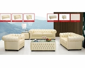 European Design Leather Sofa Set in Ivory Finish 33SS51