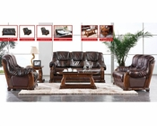 European Design Leather Sofa Set in Light Brown Finish 33SS151