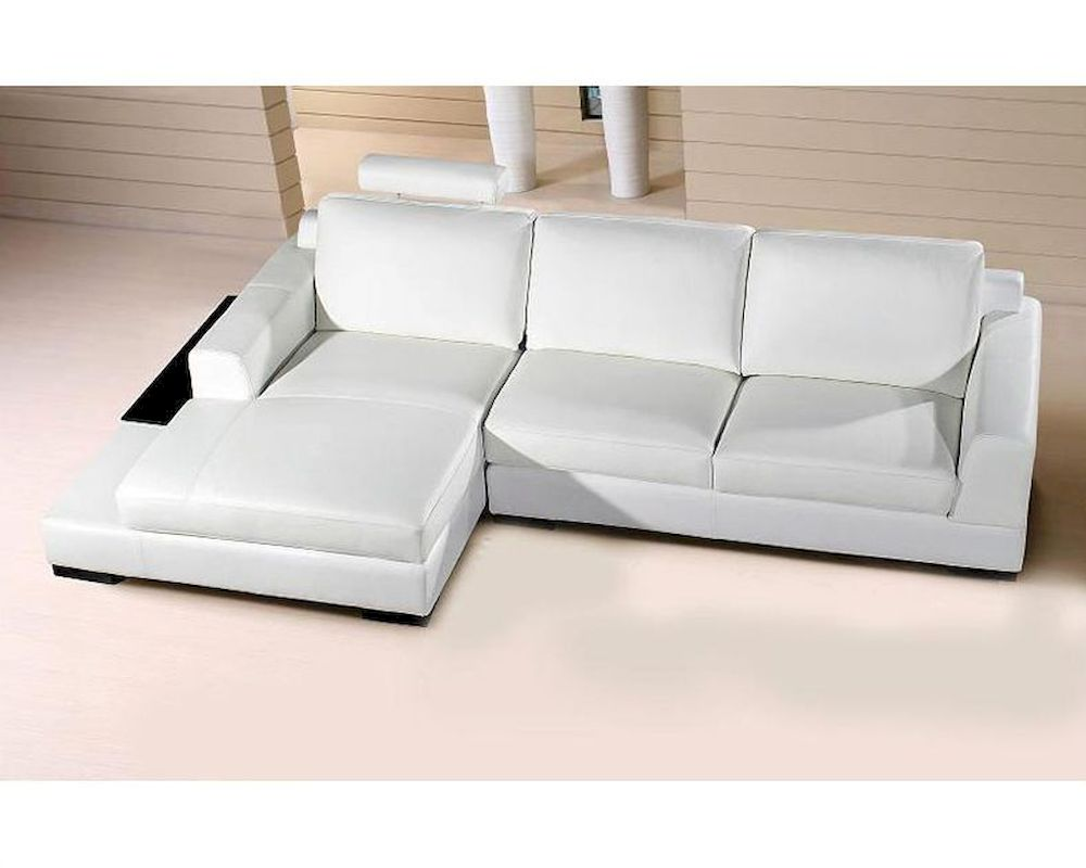 extended chaise base sectional sofa in white leather 44l0537