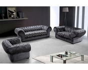 Fabric Sofa Set w/ Tufted Acrylic Crystals in Modern Style 44L0669-3