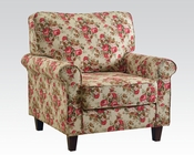 Floral Linen Accent Chair by Acme Furniture AC59315
